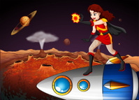 female superhero at the galaxy standing above spaceship
