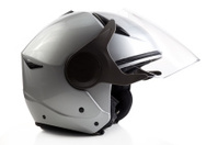 Silver bike helmet isolated