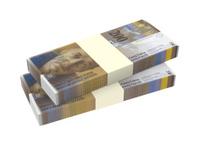 Swiss money isolated on white background.