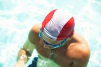 Young man at swimming pool