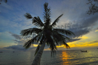 Sunset on tropical beach. Siam bay. Province Trat. Koh Chang