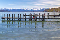 """Jetty at lake """"Starnberger See"""" in Bavaria, Germany"""