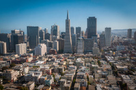 San Francisco aerial cityscape over downtown skycrapers Chinatow