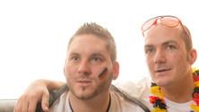 2 German soccer fans hope - head closeup