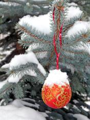 Snow covered ball  on a street  fir tree