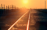 Train Tracks Sunset Winter Saskatchewan
