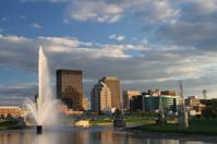 Water Fountain in River, Cityscape Skyline of Dayton, Ohio