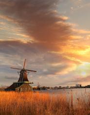 Traditional Dutch windmills in Zaanse Schans,  Amsterdam area, H