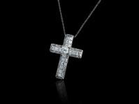 Jewelry cross with baguette diamonds