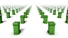 Front high angle view of trash cans (green)