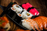 Oriental magic theme with Japanese seafood, sushi set
