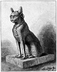 Antique illustration of Egyptian cat bronze statue