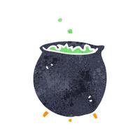 retro cartoon witches cauldron