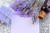 Lavender flower, soap, salt and blank paper