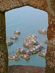 Fishing motor boats in backwater