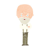 cartoon worried old man