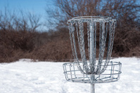 Disc Golf Basket in Snow