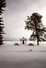 Picnic area in Winter Saskatchewan
