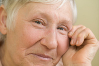Closeup Of Elderly Woman Smiling