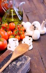 Cookbook and vegetables
