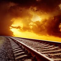 railroad closeup to orange sunset
