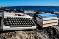 Vintage black and white Travel Typewriter