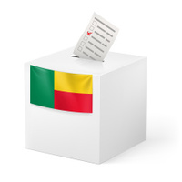 Ballot box with voting paper. Benin