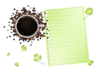 Coffee and Shamrock with A Blank Paper