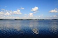Optimist dinghys on a lake in Denmark - water sport