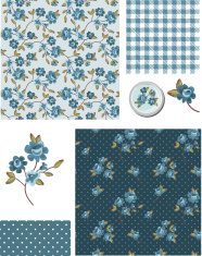 Shabby Chic Blue Rose Vector Seamless Patterns