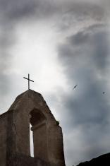 church in dark sky
