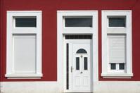 Front door of vintage apartment building