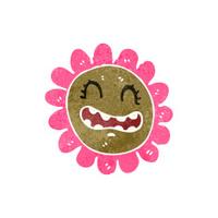 retro cartoon flower with face