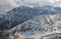 Alpine mountain peaks in winter