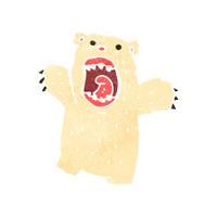 retro cartoon roaring polar bear
