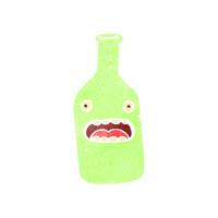 retro cartoon wine bottle with face