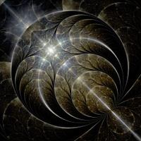 Symmetrical gold fractal flower