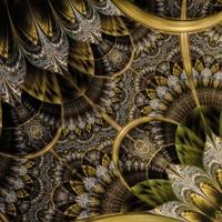 Dark green and gold fractal flower
