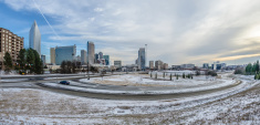 charlotte north carolina skyline in winter