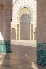 Oriental decorated gate, Hassan II mosque, Morocco