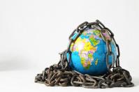 earth globe close in chain. 3d...