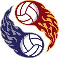 Yin Yang Flaming Volleyballs