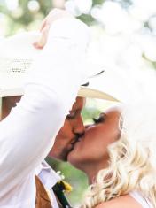 Bride and Groom High Key Kiss