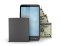 Cellular phone, bank notes and leather wallet