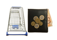 Shopping cart and leather wallet with Euro notes and  coins
