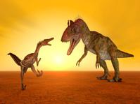 Velociraptor and Cryolophosaurus