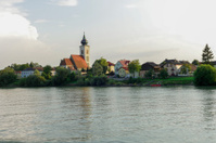 small village near grein at austria by danube river