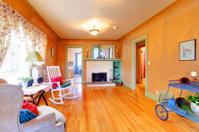 Spacious orange living room