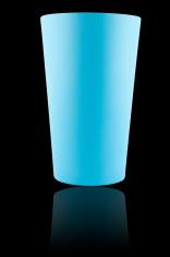 Blue plastic glass on black background