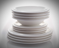 stacks of plates isolated on a white background